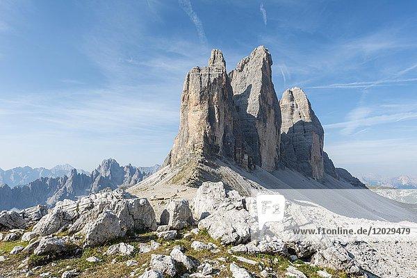 Paternsattel  Nordwände der Drei Zinnen  Sextner Dolomiten  Provinz Südtirol  Trentino-Südtirol  Alto-Adige  Italien  Europa
