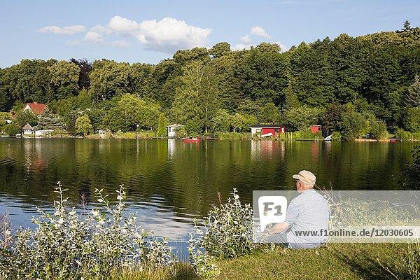 Mann  Senior sitzt am Seeufer  Tiefenwarensee  Waren  Müritz  Mecklenburgische Seenplatte  Mecklenburg-Vorpommern  Deutschland  Europa