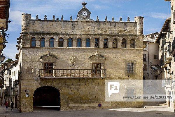 Town hall building La Fresneda medieval village Teruel Spain