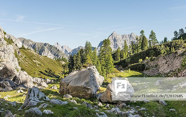 Ausblicklick auf den Watzmann  Wanderweg zum Königssee und der Wasseralm  nahe dem Kärlinger Haus  Berchtesgadener Alpen  Nationalpark Berchtesgaden  Oberbayern  Bayern  Deutschland  Europa