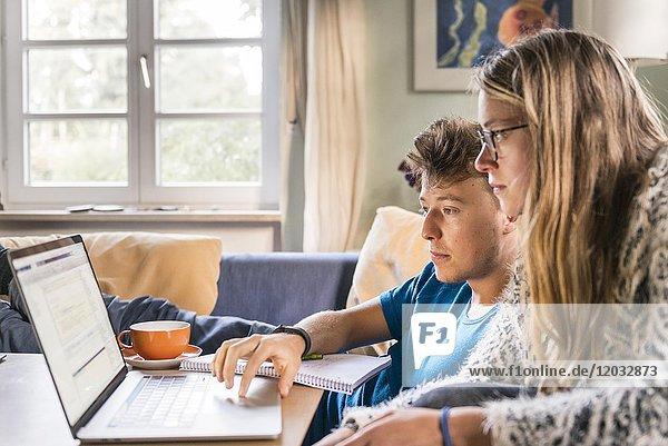 Zwei Studenten sitzen vor Laptop  lernen am Computer  München  Deutschland  Europa