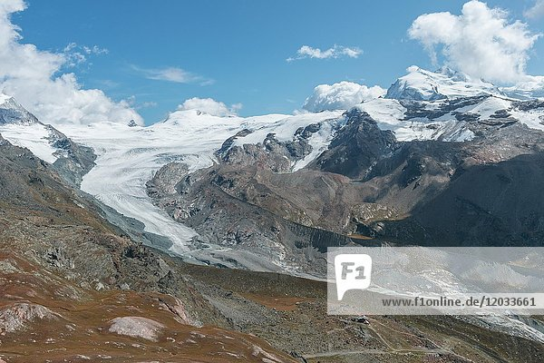 Gletscherzunge  Gletscherzunge  Blick vom Unterrothorn auf den Findelgletscher  Zermatt  Valais  Schweiz  Europa