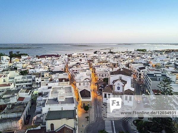 City view at dusk  Olhao da Restauracao  Algarve  Portugal  Europe