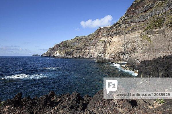 Steilküste am Ponta da Ferraria  bei Ginetes  Insel Sao Miguel  Azoren  Portugal  Europa