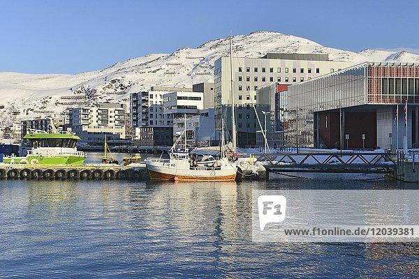 Boote und Wohngebäude am Ufer einer Bucht  Hammerfest  Finnmark  Norwegen  Europa