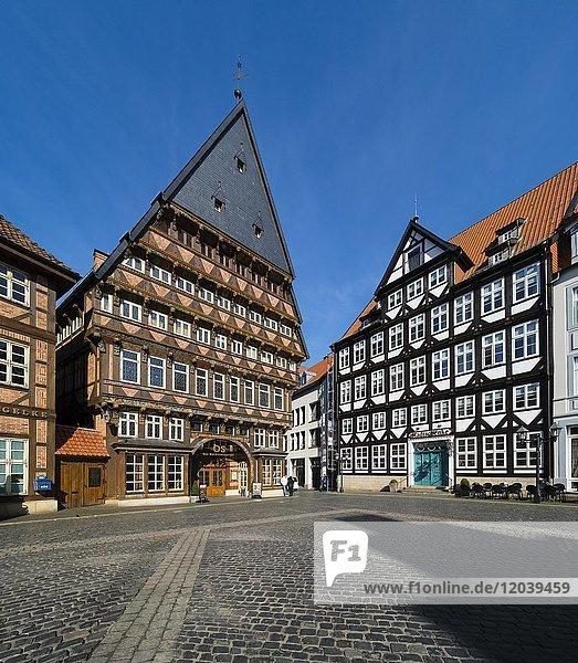 Knochenhaueramtshaus  Marktplatz mit Fachwerkhäusern  Hildesheim  Niedersachsen  Deutschland  Europa