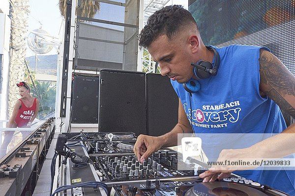 DJ Satsta playing at music festival Starbeach in Hersonissos  Crete  Greece  on 14. July 2017