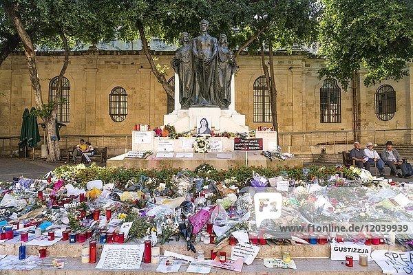 Sea of Flowers at Great Siege Monument in memory of the murdered Maltese journalist Daphne Caruana Galizia  Valletta  Malta  Europe