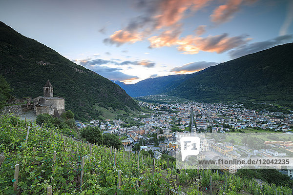 Ancient Xenodochio of Santa Perpetua on hills above the town of Tirano  province of Sondrio  Valtellina  Lombardy  Italy  Europe