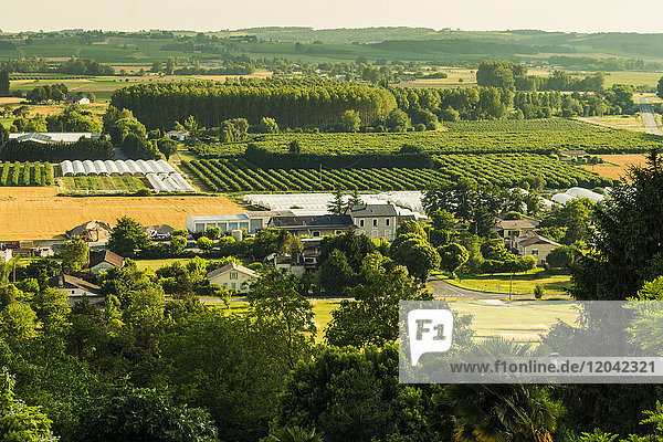 View of fields  orchards and polytunnels in summer seen from this important hilltop town  Duras  Lot-et-Garonne  France  Europe