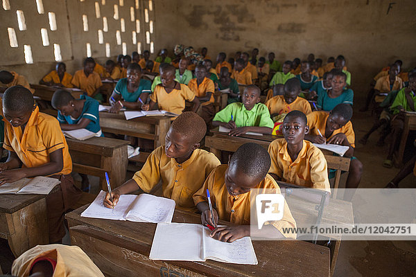 A classroom full of students learning at a primary school in Ghana  West Africa  Africa