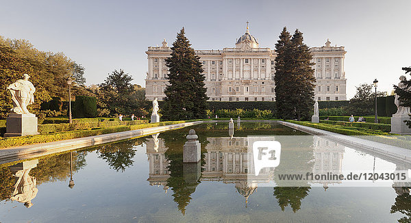 Royal Palace ( Palacio Real)  view from Sabatini Gardens (Jardines de Sabatini)  Madrid  Spain  Europe
