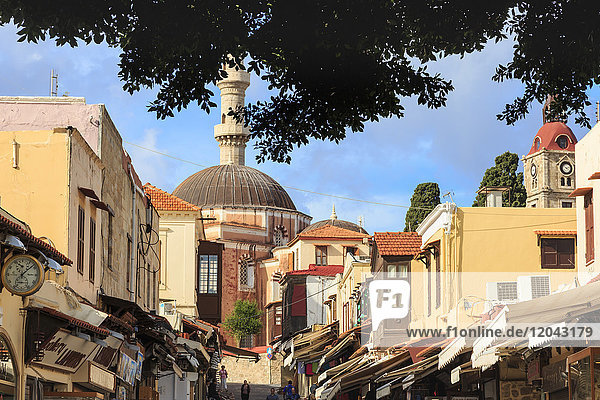 Socrates Street with Suleymaniye Mosque  Medieval Rhodes Town  UNESCO World Heritage Site  Rhodes  Dodecanese Islands  Greek Islands  Greece  Europe