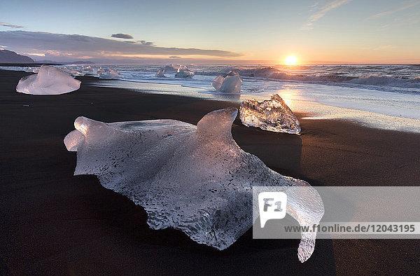 Glassy pieces of ice on volcanic black sand beach at sunrise  near Jokulsarlon Lagoon  South Iceland  Polar Regions