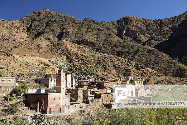 Traditional village in the foothills of the High Atlas Mountains  Morocco  North Africa  Africa