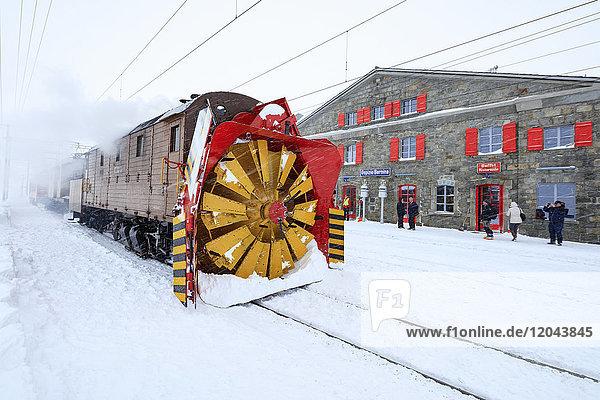 Turbine of snowplow of Bernina Express train  station of Ospizio Bernina  Poschiavo  Engadine  Canton of Graubunden  Switzerland  Europe