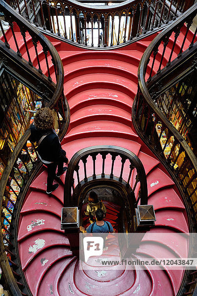 Stairs  Livraria Lello bookshop built in 1881  Porto (Oporto)  Portugal  Europe