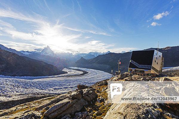 Monte Rosa hut and the Matterhorn  4478m  Zermatt  Valais  Swiss Alps  Switzerland  Europe
