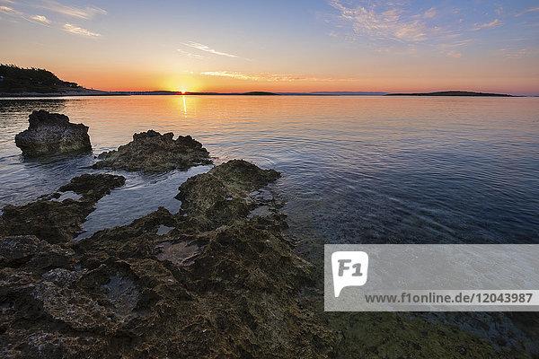 Sunrise over the Adriatic Sea  Kamenjak National Park  Istria  Croatia  Europe