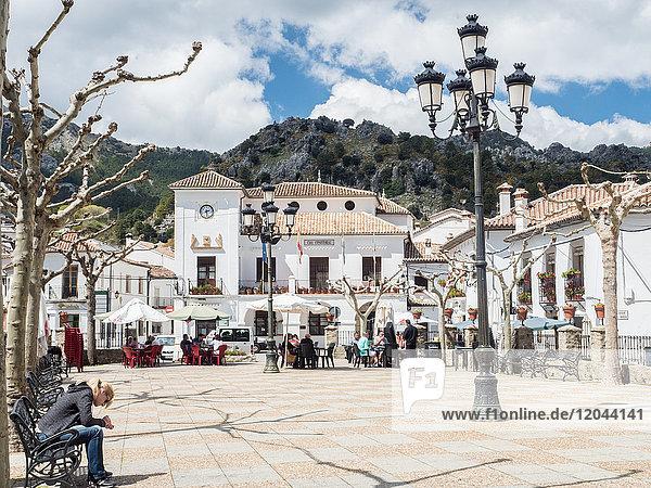 Main plaza  Grazalema  Andalucia  Spain  Europe