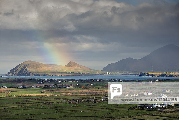 Rainbow over hills and dwellings  looking towards Clogher and Rosroe  Dingle Peninsula  County Kerry  Munster  Republic of Ireland  Europe