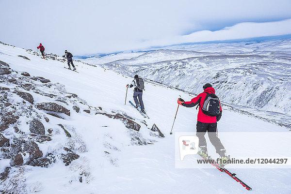 Ski touring at CairnGorm Mountain Ski Resort  Aviemore  Cairngorms National Park  Scotland  United Kingdom  Europe