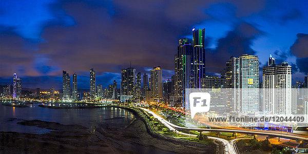 City skyline illuminated at dusk  Panama City  Panama  Central America