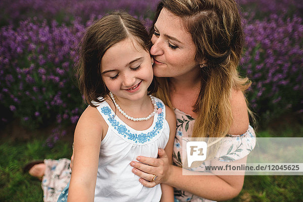 Mother and daughter in lavender field  Campbellcroft  Canada