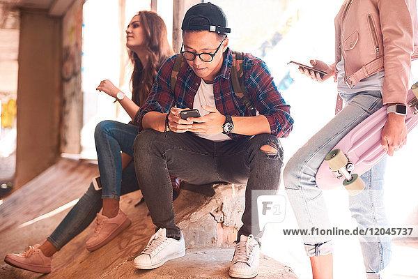Junge Skateboard-Freunde schauen auf Smartphone im Skateboard-Park Junge Skateboard-Freunde schauen auf Smartphone im Skateboard-Park