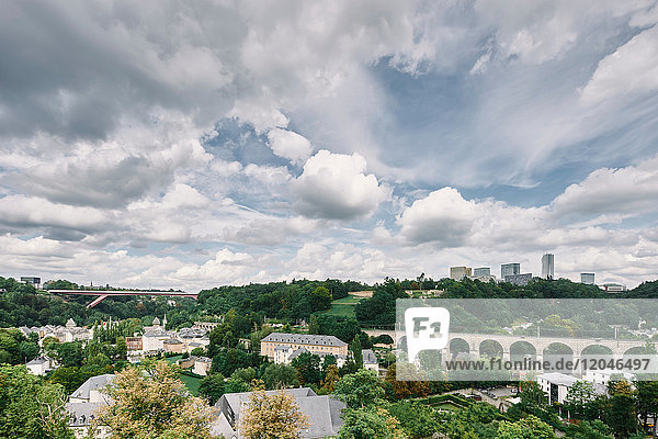 Elevated view of bridge in the city of Luxembourg  Europe