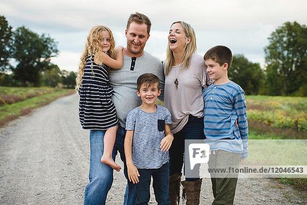 Family of five enjoying outdoors
