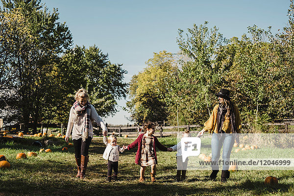 Women and children holding hands in field of pumpkins  Oshawa  Canada  North America