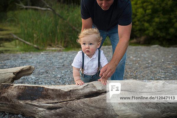 Man with toddler son toddling on beach  Lake Ontario  Canada