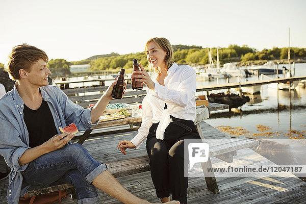 Lächelnde männliche und weibliche Freunde stoßen im Hafen auf Bierflaschen an.