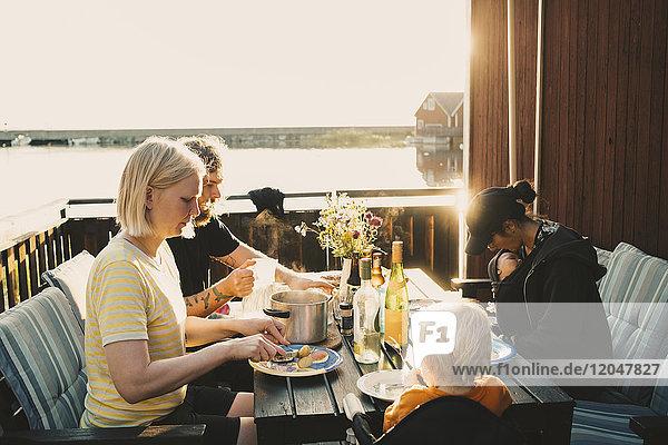 Familie und Freunde bei Tisch in der Ferienvilla am See an einem sonnigen Tag