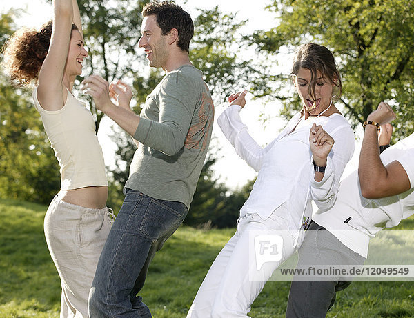 Couples Dancing Outdoors