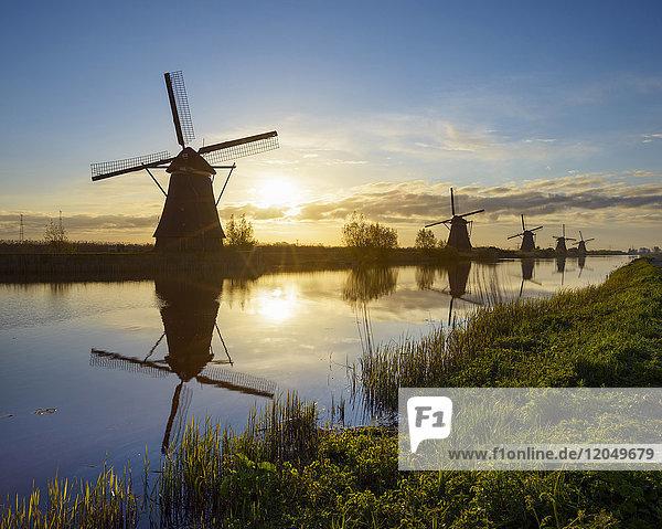 Windmills at Sunrise  Kinderdijk  South Holland  Netherlands