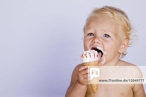 Baby Eating Ice Cream Cone