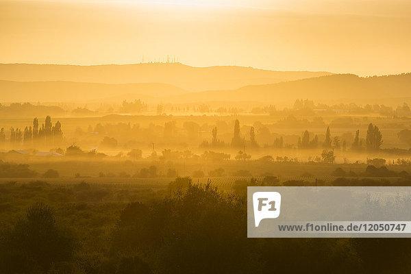 Dawn over fields of farmland at Region del Maule in Southern Chile