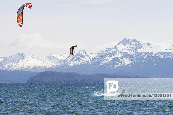 Kite Surfers In Kachemak Bay  Homer  Southcentral Alaska  USA
