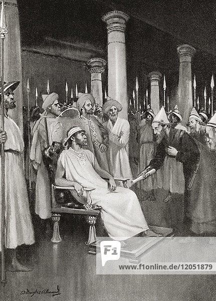 Gondophares receives a letter from St. Thomas announcing his intention to visit India. Gondophares I  founder and king of the Indo-Parthian Kingdom who ruled c. 20–10 BC. From Hutchinson's History of the Nations  published 1915.