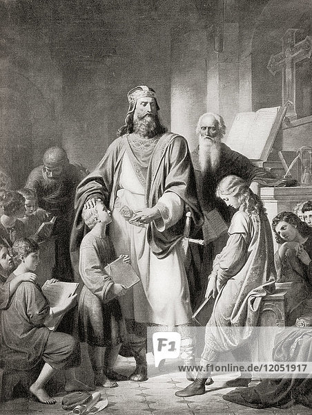 Charlemagne and his scholars. Charlemagne aka Charles the Great  742/747/748 - 814  numbered Charles I. King of the Franks from 768  King of the Lombards from 774 and Emperor of the Romans from 800. In 789 he established schools for the benefit of the poorer classes. From Hutchinson's History of the Nations  published 1915.