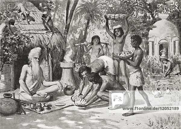 A hermit in ancient India seen here being brought food by the younger generation. From Hutchinson's History of the Nations  published 1915.