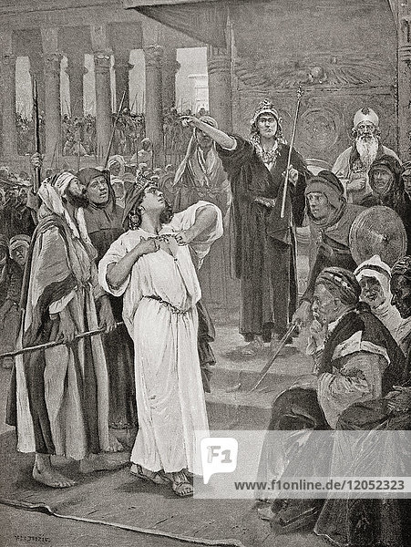 Athaliah hears the proclamation of Joash  836 B.C. After the massacre at Jehu  Israel and the house of David  Athaliah murdered the whole royal family of Judah  except for her grandson Joash  who escaped. Six years later he was proclaimed king and Athaliah was taken prisoner and executed. From Hutchinson's History of the Nations  published 1915.