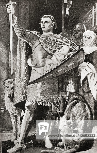Edward I of England presenting his newborn son as the future First Prince of Wales to the Welsh nation in 1284. Edward I  1239 – 1307  aka Edward Longshanks and the Hammer of the Scots. King of England. Prince of Wales  future Edward II  1284 – 1327  aka Edward of Caernarfon  King of England. From Hutchinson's History of the Nations  published 1915.
