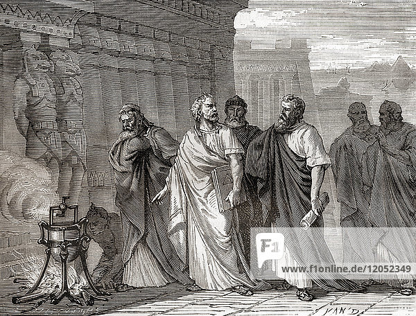Hero demonstrating his aeolipile in front of the scholars of the school of Alexandria. An aeolipile aka aeolipyle  eolipile  or Heron's engine  is a simple bladeless radial steam turbine which spins when the central water container is heated. Hero of Alexandria  aka Heron of Alexandria; c. 10 AD – c. 70 AD. Greek mathematician and engineer. From Les Merveilles de la Science  published 1870.