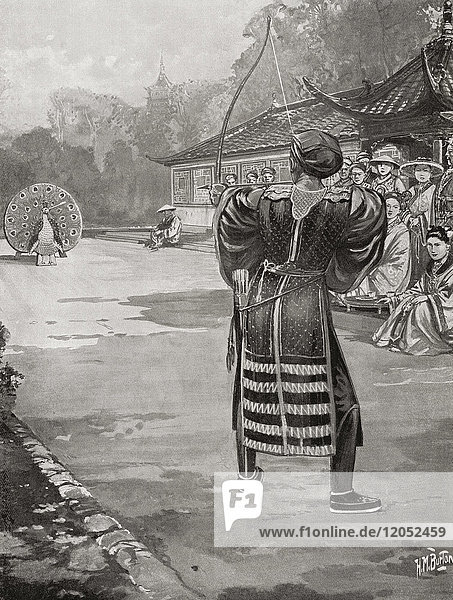Li Yuan winning his wife at a shooting contest  the target was painted to resemble a peacock and both its eyes were put out by his arrows. Emperor Gaozu of Tang  566 – 635  born Li Yuan  courtesy name Shude. Founder of the Tang Dynasty of China  and the first emperor of this dynasty from 618 to 626. From Hutchinson's History of the Nations  published 1915.
