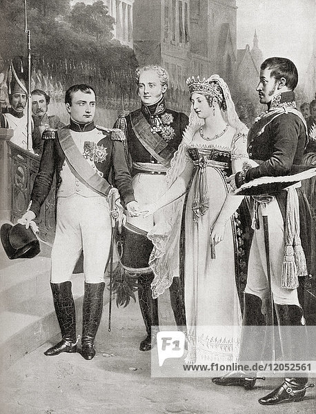 Napoleon receiving the Queen of Prussia at Tilsit  1807. Napoleon Bonaparte  1769 – 1821. French military and political leader and Emperor of the French from 1804 to 1815 as Napoleon I. Duchess Louise of Mecklenburg-Strelitz  1776 – 1810. Queen consort of Prussia as the wife of King Frederick William III. From Hutchinson's History of the Nations  published 1915.