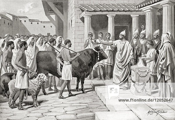Romans offering The suovetaurilia or suovitaurilia  one of the most sacred and traditional rites of Roman religion  the sacrifice of a pig (sus)  a sheep (ovis) and a bull (taurus) to the deity Mars to bless and purify land. From Hutchinson's History of the Nations  published 1915.
