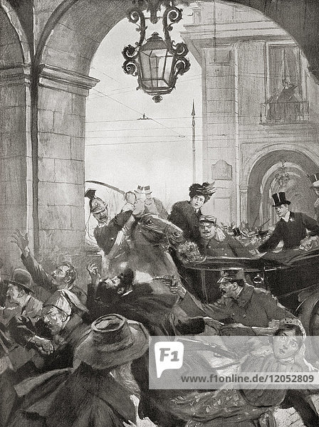 The assassination of King Carlos I of Portugal and his son Luís Filipe in 1908 by Alfredo Costa and Manuel Buiça  two members of a revolutionary society called the Carbonária. Dom Carlos I of Portugal aka the Diplomat or the Martyr  1863 – 1908. King of Portugal and the Algarves. D. Luís Filipe  Prince Royal of Portugal  Duke of Braganza  1887 – 1908. From Hutchinson's History of the Nations  published 1915.